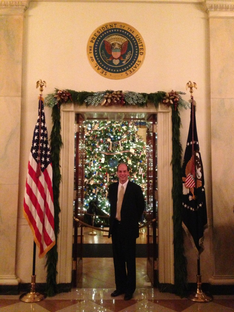The Presidential Seal and the Official White House Christmas Tree.